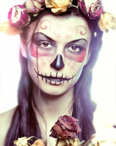 pretty-sugar-skull-face-roses-pink-yellow